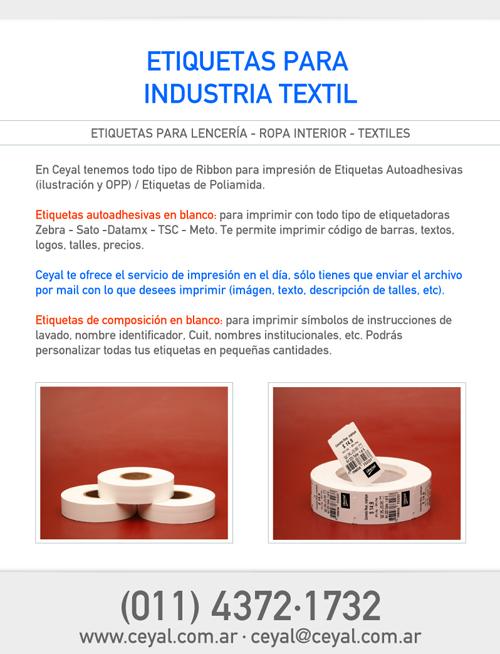 Etiquetas para Textiles: Lencería - Bombachas - Ropa Interior