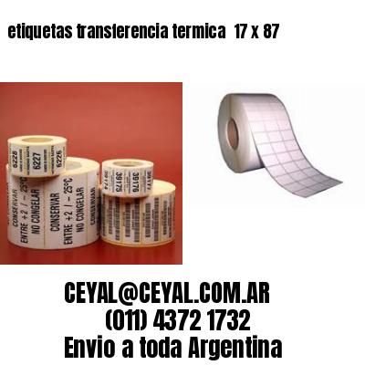 etiquetas transferencia termica  17 x 87