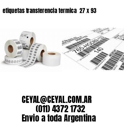 etiquetas transferencia termica  27 x 93