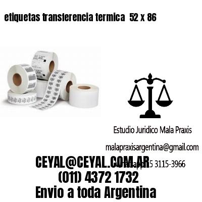 etiquetas transferencia termica  52 x 86