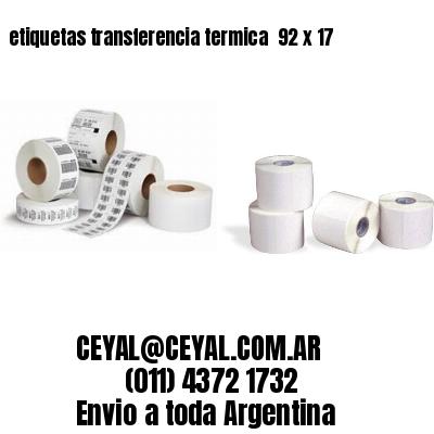 etiquetas transferencia termica  92 x 17