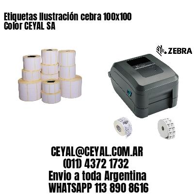 Etiquetas Ilustración cebra 100x100 Color CEYAL SA