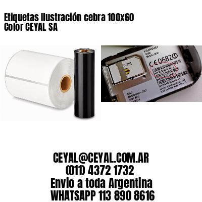 Etiquetas Ilustración cebra 100x60 Color CEYAL SA