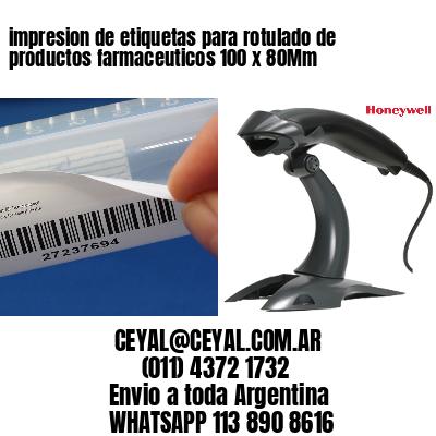 impresion de etiquetas para rotulado de productos farmaceuticos 100 x 80Mm
