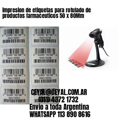impresion de etiquetas para rotulado de productos farmaceuticos 50 x 80Mm