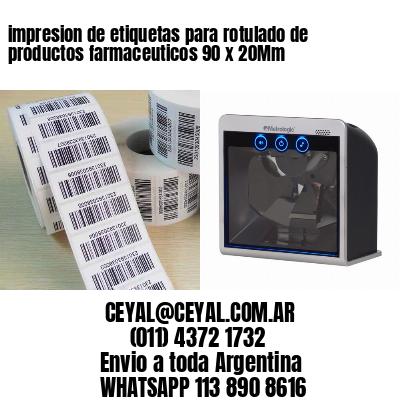 impresion de etiquetas para rotulado de productos farmaceuticos 90 x 20Mm
