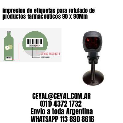 impresion de etiquetas para rotulado de productos farmaceuticos 90 x 90Mm